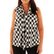 9 & Co.® Print Bow-Neck Blouse - Plus
