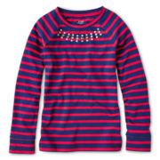 Joe Fresh™ Long-Sleeve Striped Necklace Tee - Girls 4-14