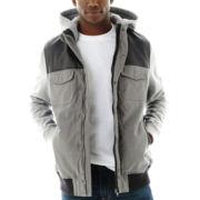 Ecko Unltd.® Faux Leather and Fleece Hooded Jacket