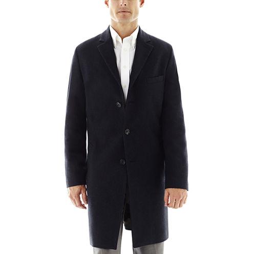 Stafford® Navy Herringbone Topcoat