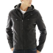 JF J. Ferrar® Faux-Leather Racer Jacket with Hood