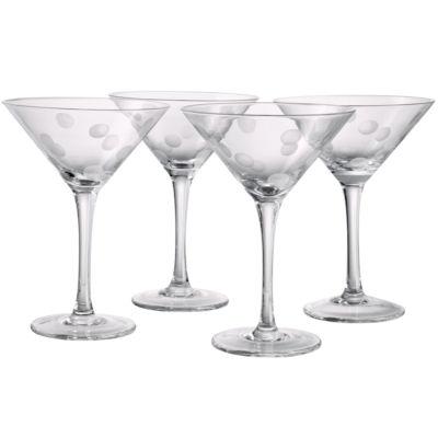 Polka Dot Set of 4 Martini Glasses