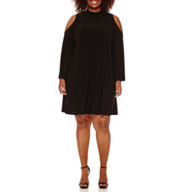 jcpenney.com | Tiana B Cold Shoulder Swing Dress-Plus
