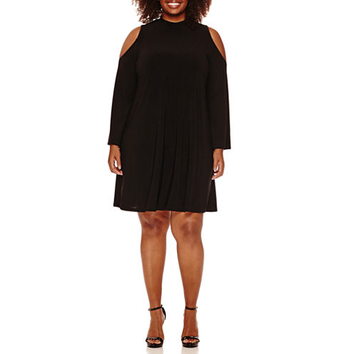 Tiana B Cold Shoulder Swing Dress-Plus