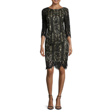 jcpenney.com | RN Studio by Ronni Nicole 3/4-Sleeve Metallic Lining Lace Overlay Shift Dress - Petite