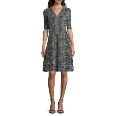 jcpenney.com | Danny & Nicole® Elbow-Sleeve Textured Knit Fit-and-Flare Dress - Petite