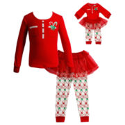Dollie & Me Long-Sleeve 2 pc. Pajama Set-Girls 4-14