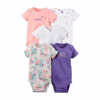 jcpenney.com | Carter's® 5-pk. Short-Sleeve Purple Cotton Bodysuits - Baby Girls newborn-24m