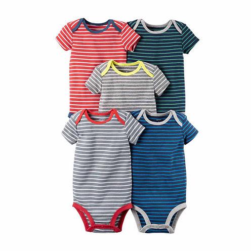 Carter's® 5-pk. Short-Sleeve Stripe Cotton Bodysuits - Baby Boys newborn-24m