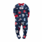 Carter's® Navy Football Fleece Pajamas - Toddler Boys 2t-5t