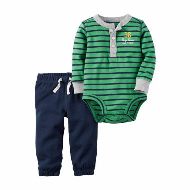 jcpenney.com | Carter's® 2-pc. Green Stripe Bodysuit Pants Set - Baby Boys newborn-24m