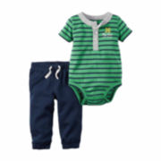 Carter's® 2-pc. Green Stripe Bodysuit and Pants Set - Baby Boys newborn-24m