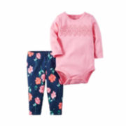 Carter's® 2-pc. Pink Floral Bodysuit and Pants Set - Baby Girls newborn-24m