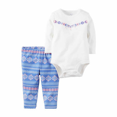 jcpenney.com | Carter's® 2-pc. White Bodysuit and Pants Set - Baby Girls newborn- 24m