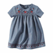 Carter's® 2-pc. Short-Sleeve Embroidered Chambray Dress - Baby Girls newborn-24m