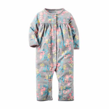 jcpenney.com | Carter's® Gray Floral Fleece Jumpsuit - Baby Girls newborn-24m