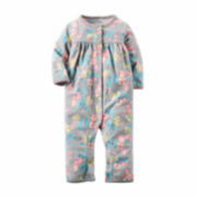 Carter's® Gray Floral Fleece Jumpsuit - Baby Girls newborn-24m