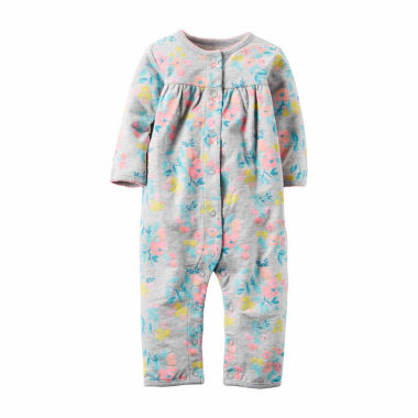 jcpenney.com | Carter's® Gray Floral Terry Jumpsuit - Baby Girls newborn-24m