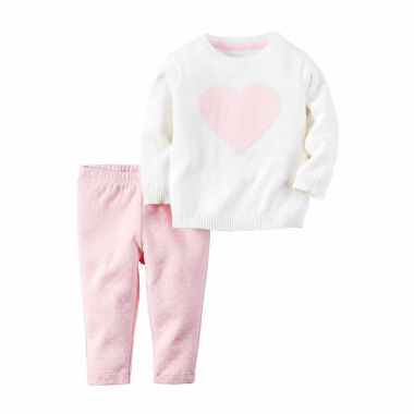 jcpenney.com | Carter's® Ivory Heart 2-pc. Sweater and Pant Set - Baby Girls newborn-24m