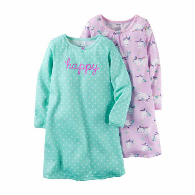 jcpenney.com | Carter's® 2-pk. Lavender Owl Print Long-Sleeve Gowns - Toddler Girls 2t-5t