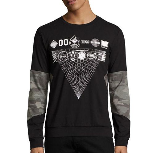 Urban Nation Long-Sleeve Camo-Print Burnout Shirt