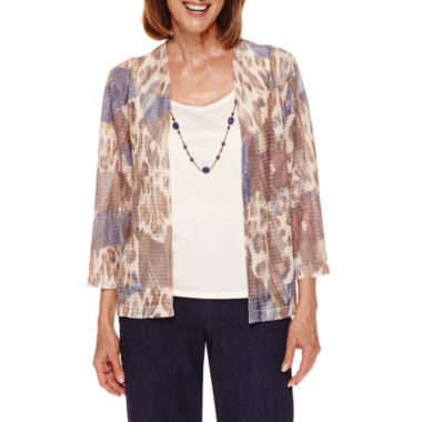 jcpenney.com | Alfred Dunner Sierra Madre 3/4 Sleeve Layered Top with Necklace -Petites