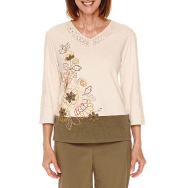 jcpenney.com | Alfred Dunner Cactus Ranch 3/4 Sleeve Embroidered T-Shirt - Petite