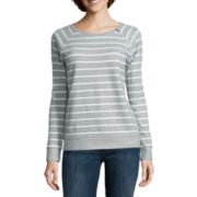 Liz Claiborne® Long-Sleeve Zip-Shoulder Sweatshirt - Petite