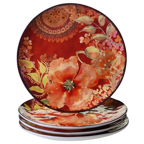 Certified International Watercolor Poppies 4-pc. Dinner Plate