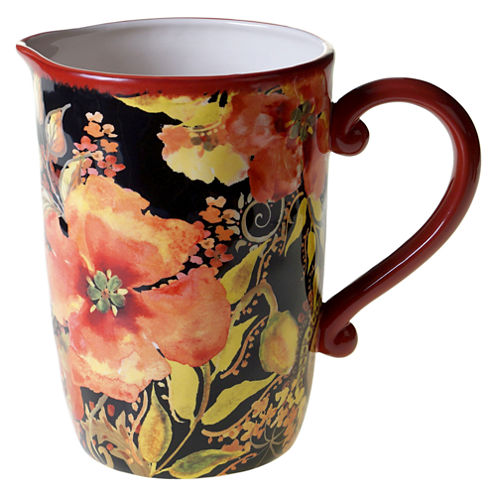 Certified International Watercolor Poppies Serving Pitcher