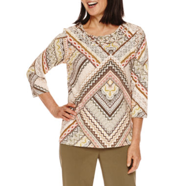 jcpenney.com | Alfred Dunner® Cactus Ranch  3/4 Sleeve Print Top
