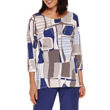 jcpenney.com | Alfred Dunner Crescent City 3/4 Sleeve Colorblock Top