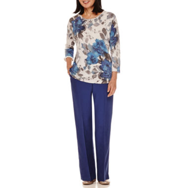 jcpenney.com | Alfred Dunner® Crescent City 3/Sleeve Floral Sweater And Pant