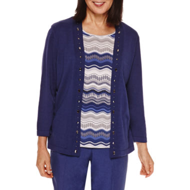 jcpenney.com | Alfred Dunner® Crescent City   Stripe Layered Sweater