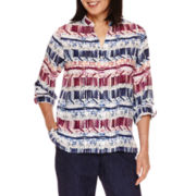 Alfred Dunner® Sierra Madre Long Sleeve  Stripe Shirt