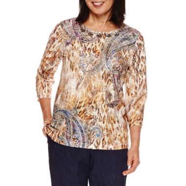 jcpenney.com | Alfred Dunner Sierra Madre 3/4 SleeveTexture Print Top