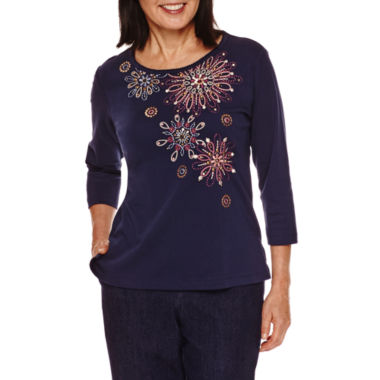 jcpenney.com | Alfred Dunner Sierra Madre 3/4 Sleeve Embroidery Top