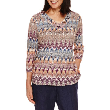jcpenney.com | Alfred Dunner Sierra Madre 3/4 Sleeve Print Top