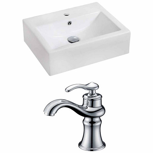 American Imaginations 20.25-in. W Wall Mount WhiteVessel Set For 1 Hole Center Faucet - Faucet Included