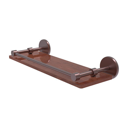 Allied Brass Prestige Skyline Collection 16 IN Solid Ipe Ironwood Shelf With Gallery Rail