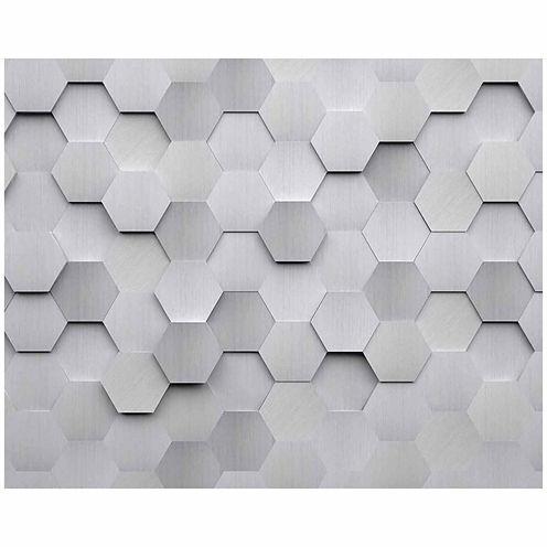 Brewster Wall Metal Hexagons Wall Mural 6-pc. Wall Murals