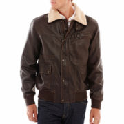 IZOD® Faux-Leather Bomber Jacket