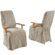 SURE FIT® Matelassé Damask Dining Armchair Slipcover
