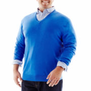 Claiborne® Merino Wool V-Neck Sweater–Big & Tall