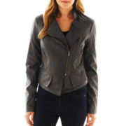 Collection B. Peplum Faux-Leather Jacket