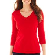 St. John's Bay® Essential 3/4-Sleeve V-Neck Tee - Tall