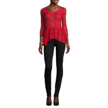 jcpenney.com | Decree® 3/4-Sleeve Lace Peplum Top or Denim Jeggings