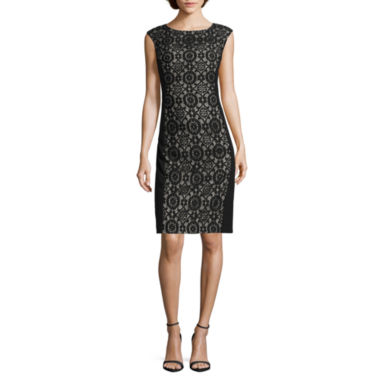 jcpenney.com | London Style Collection Cap-Sleeve Lace-Inset Sheath Dress - Petite