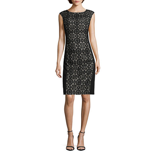London Style Collection Cap-Sleeve Lace-Inset Sheath Dress - Petite