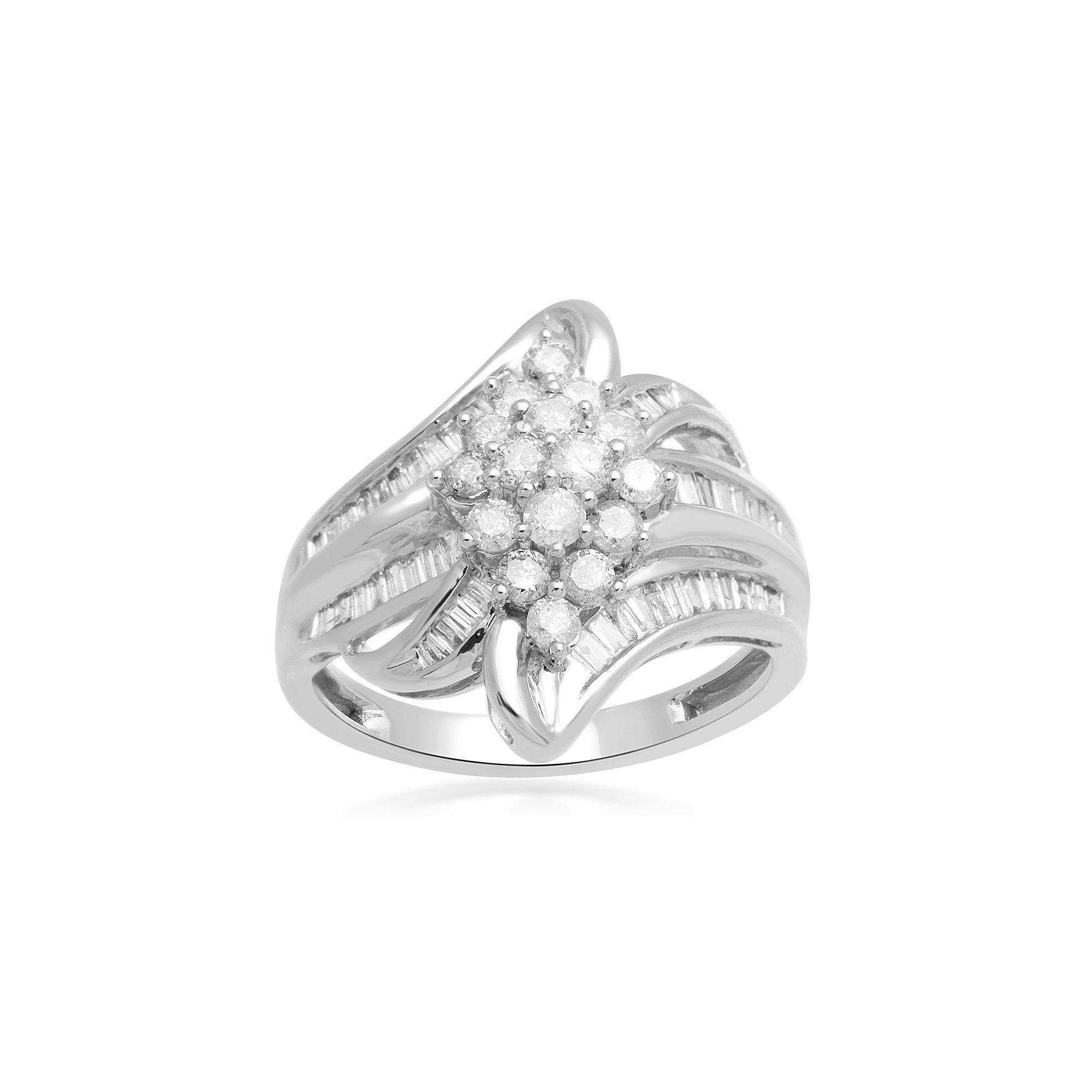 Womens 1 CT. T.W. White Diamond 10K Gold Cocktail Ring